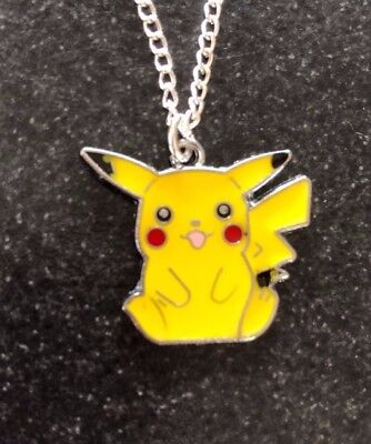 POKEMON PICACHU ENAMEL NECKLACE PENDANT 16  Silver Plated Chain In Gift Bag • 2.99£