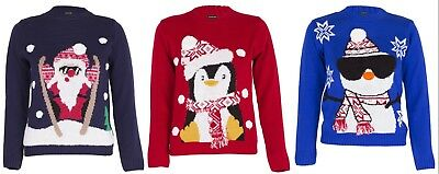 Boys Girls Unisex Christmas Jumper Xmas Kids Sweater 3D Pom Pom Novelty Pullover • 10.99£