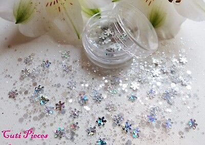 Nail Art Chunky *Ice Queen* Xmas Silver Snowflake Hex Mix Glitter Spangle Pot  • 1.99£