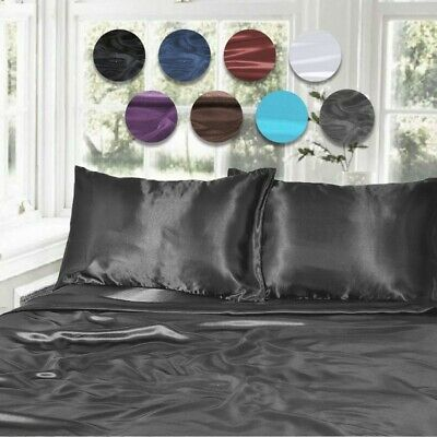 AU42 • Buy 1000TC Silk Satin Single/KS/Double/Queen/King Fitted, Flat Pillowcase Sheet Set