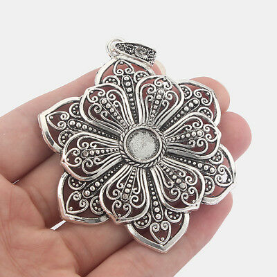 2x Large Open Flower Charms Pendant 10mm Round Trays Cameo Cabochon Setting  • 2.99£