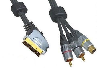 £4.95 • Buy 0.75m Scart Plug To 2x RCA Phono Male Plugs And SVHS Male Plug Lead Gold Plated