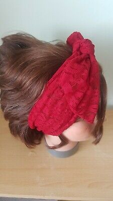 Head Scarf Hair Band Red Lace  Self Tie Bow  Neck Rockabilly Swing Pin Up • 4.50£