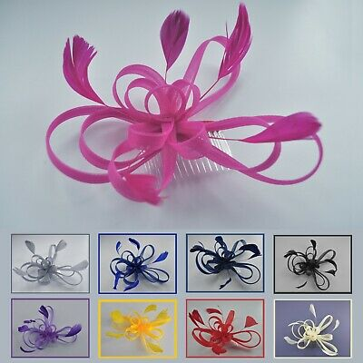 £11.95 • Buy Looped Mesh Feather Fascinator Hair Comb. 3 Colours: Dark Lilac. Wedding/Races