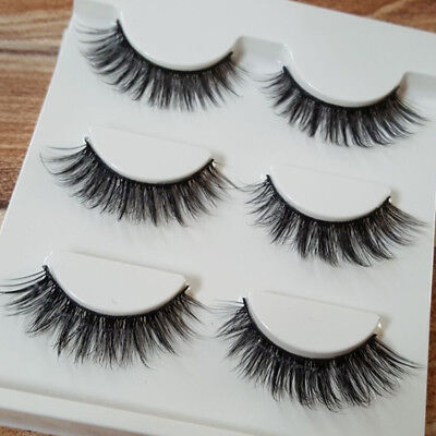 AU7.95 • Buy 3pcs 3D Luxurious Real Mink Natural Cross Long Thick Eye Lashes False Eyelashes