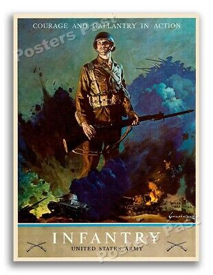 $11.95 • Buy WW2 1943  Courage And Gallantry In Action  US Army Infantry Poster - 18x24
