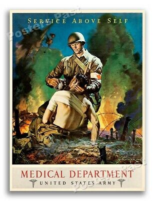 $11.95 • Buy 1942 US Army Medical Dept  Service Above Self  Vintage Army Medical Poster 18x24