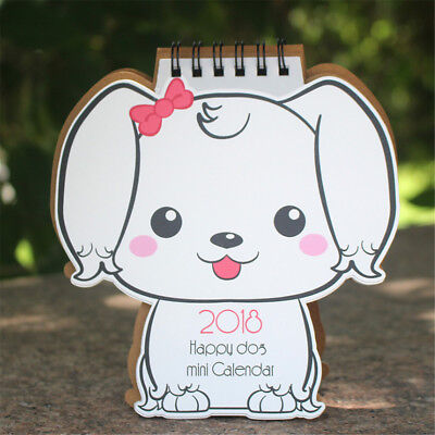 AU5.36 • Buy 2018 Desk-Top Flip Calendar Stand Up Office Home Table Planner White Dog Pet New