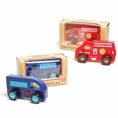 Traditional Wood 'n' Fun Emergency Vehicles Wooden Push Along Toy 3+ Police Fire • 10.99£