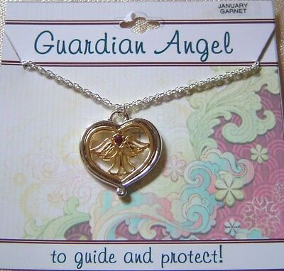January Guardian Angel Necklace,garnet Crystal Birthstone, 2 Tone Plated,card   • 5.71£