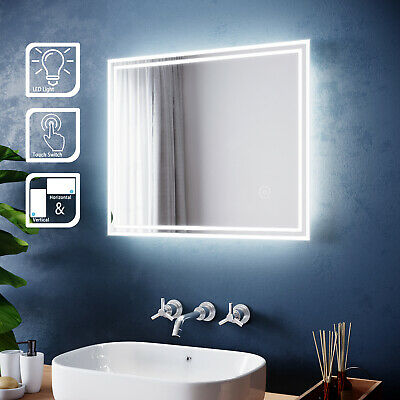 LED Illuminated Bathroom Mirror With Touch Control Modern Frameless 600x500mm • 57.99£