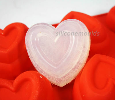 6 Cell DEEP TIERED HEART SILICONE MOULD Soap Candle Jelly Wax Cake Baking C8033 • 6.99£