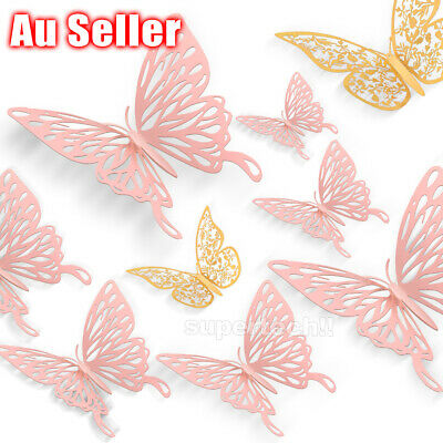 AU6.95 • Buy 12Pcs 3D DIY Wall Decal Stickers Butterfly Home Room Art Decor Decorations AU