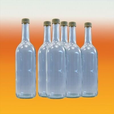 750ml Clear Glass Bottles With Screw Caps X 9 -  Mineral Water, Juice, Spirit • 19.90£