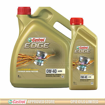 Castrol EDGE TITANIUM 0w-40 FST A3/B4 Synthetic Engine Oil 0W40 5 LITRES (4L+1L) • 58.95£