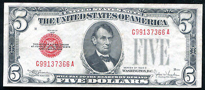 $ CDN53.63 • Buy 1928-e $5 Five Dollars Red Seal Legal Tender United States Note About Unc (g)
