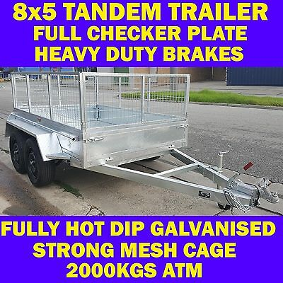 AU2399 • Buy 8x5 Galvanised Tandem Trailer Box Trailer With Cage 2000kgs Heavy Duty