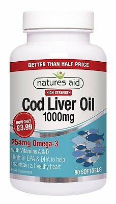 Natures Aid 1000mg High Strength Cod Liver Oil - Pack Of 90 Capsules • 6.46£