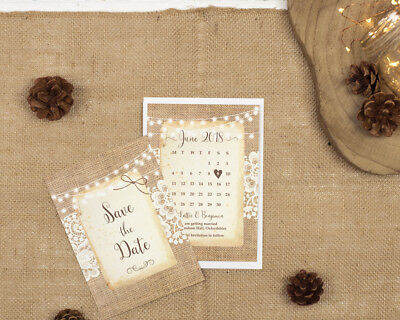 Rustic Burlap & Lace Save The Date Cards • 1£