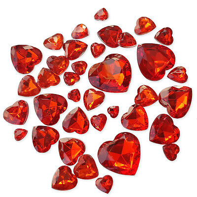£2.99 • Buy 50pcs Red Valentines Heart Faceted Crystal Rhinestone Embellishments Gem Crafts
