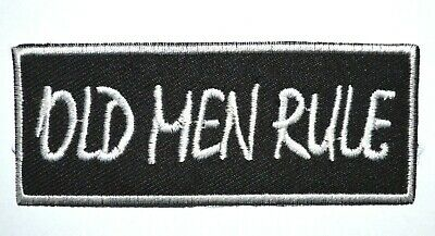 £1.79 • Buy Embroidered OLD MAN RULE Logo Sport Biker Iron/Sew On Patch Message 3.5 X 8.7 Cm