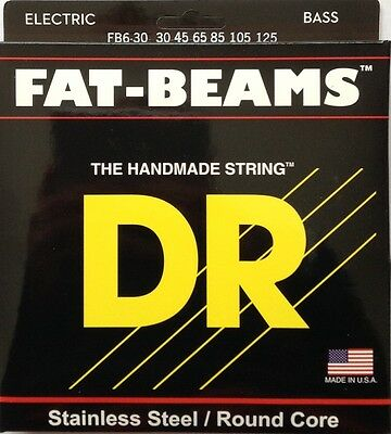 $ CDN44.19 • Buy DR FB6-30 Fat Beams BASS Guitar Strings SS Round Core; 6-string Set  30-125