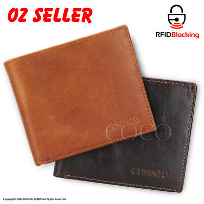 AU13.99 • Buy Genuine Leather Mens Purse Bifold Credit Card Wallet RFID Blocking Anti Scan