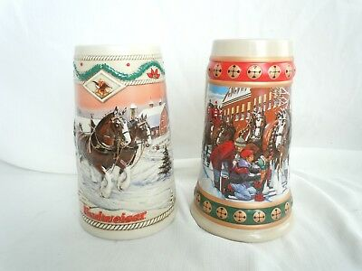 $ CDN24.88 • Buy Budweiser Holiday Stein Collection Set Of 2 Mugs-1994,96 Clydesdale Winter Scene