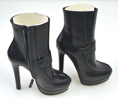 Gucci Woman Winter Ankle Boots Booties Leather Code 296336 Blm00 1000 • 395.11£