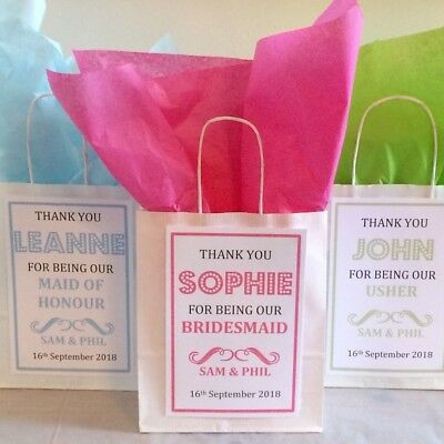 £1.10 • Buy Personalised White Paper Favour Bags/Gift/Wedding/Hen/Christening/Party