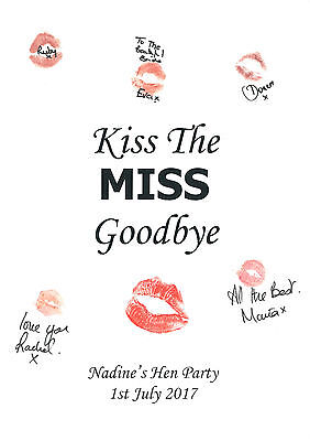 Hen Party Keepsake * Personalised * Kiss The Miss * A3 Print * Free P&P *    • 7.99£