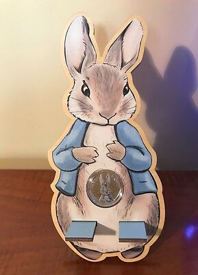 Peter Rabbit Coloured 50p Coin Mobile Phone Wooden Stand. Beatrix Potters Tales. • 9.97£