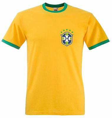 Personalised Retro Brazil Football T Shirt Brazilian Ringer Tee With Name Number • 10.49£
