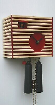 AU753.67 • Buy Modern Cuckoo Clock Bauhaus Design, Red, 8 Day RH CS34-3 NEW