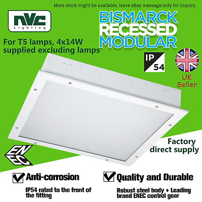 NVC Ceiling Fluorescent IP54 Rated Recessed Modular 4x14W T5 Lamps Bismarck • 6.99£