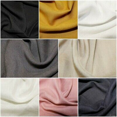 New 100% Viscose Soft Linen Look Fabric Dress Material - 8 Colours 140cm Wide • 6.99£