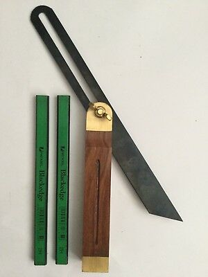 SLIDING BEVEL/GAUGE 10 1/2  270mm ANGLE FINDER,HARDWOOD 2 X BLACKEDGE PENCILS  • 7.58£