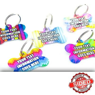 £3.99 • Buy Fun Pet ID Tags Metal Bone Pet Tags Dog Name Discs Personalised Double Sided