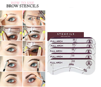 5Pcs Eyebrow Shaping Stencil Kit Perfect Style 5 Pack With *Fast & Free Postage* • 1.99£