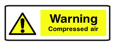 5 X WARNING COMPRESSED AIR SELF ADHESIVE STICKERS SAFETY SIGNS BUSINESS • 2.99£