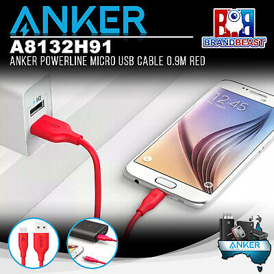 AU14.99 • Buy Anker A8132H91 PowerLine 0.9m Android Smartphones Micro USB Charging Cable - Red