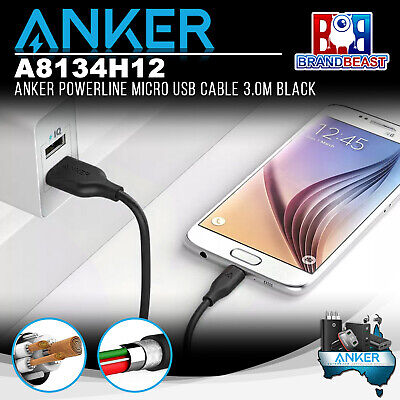 AU22.95 • Buy Anker A8134H12 PowerLine 3.0m Android Smartphones Micro USB Charging Cable Black