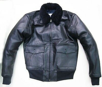 $200 • Buy Black M-422A WWII Bomber Pilot Flying Jacket USN Goat Leather Real Collar