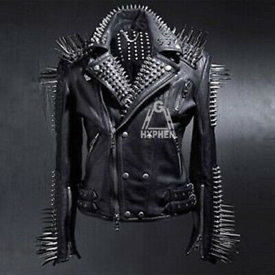 Men's Black Long Spiked Studded Punk Unique Top Quality Cowhide Leather Jacket • 253.87£