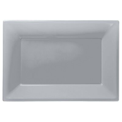 £3.99 • Buy Silver Plastic Serving Platters Tray Party Buffet Food Celebration Wedding
