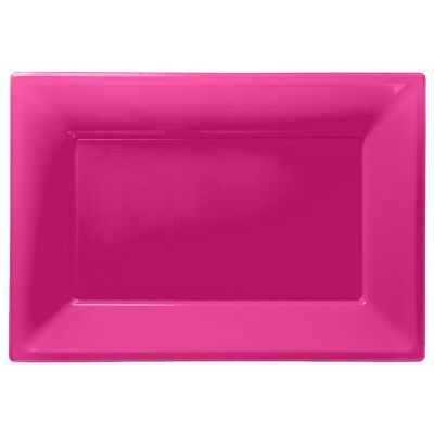 £3.99 • Buy Hot Pink Plastic Serving Platters Tray Party Buffet Food Celebration Wedding