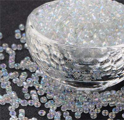 £2.49 • Buy 50g RAINBOW AB LUSTRE CLEAR GLASS SEED BEADS 11/0 2mm 8/0 3mm 6/0 4mm