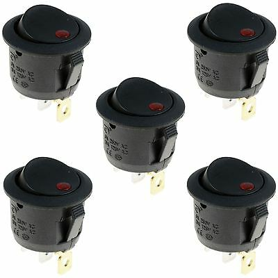 5 X Red LED On/Off Round Rocker Switch Lighted Car Dashboard Dash 12V • 3.49£
