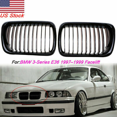 $45.44 • Buy 2x For 1997-1999 BMW E36 M3 3 Series Front Hood Kidney Grille Grill Gloss Black
