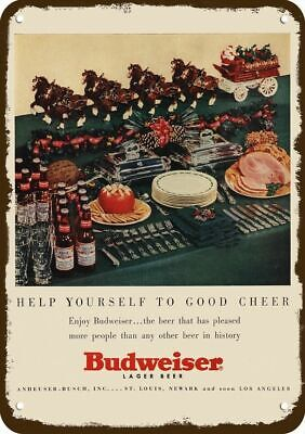 $ CDN30.36 • Buy 1953 BUDWEISER BEER Vintage Look Replica Metal Sign CHRISTMAS SANTA CLYDESDALE